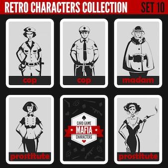 Conjunto de silhuetas de pessoas vintage retrô. senhora, prostitutas, policiais profissões ilustrações.