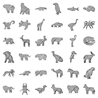 Conjunto de silhuetas de rabiscos de animais africanos, vetor de clip-art.