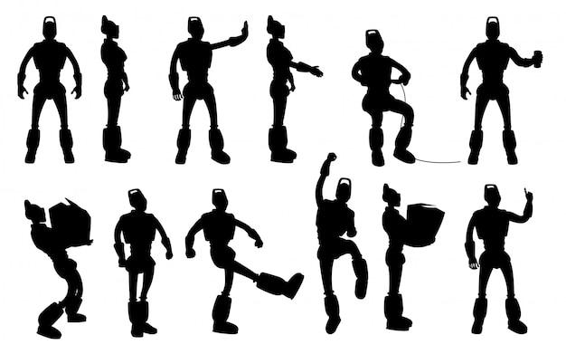 Conjunto de silhuetas de robô em poses diferentes