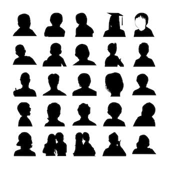 Conjunto de silhuetas de rosto humano