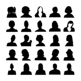 Conjunto de silhuetas de rosto