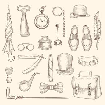 Conjunto de silhuetas de roupas e acessórios de cavalheiros