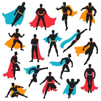 Conjunto de silhuetas de super-herói preto