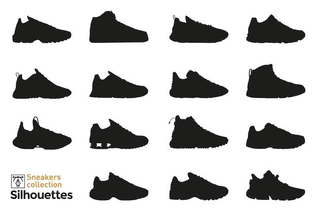 Conjunto de silhuetas de tênis para homem e mulher. elementos da moda. ícones de calçado para. Vetor Premium