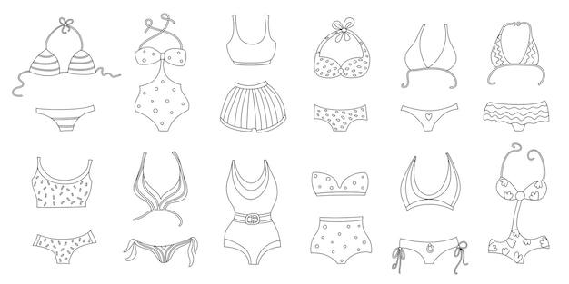 Conjunto de silhuetas de trajes de banho femininos isolado no fundo branco