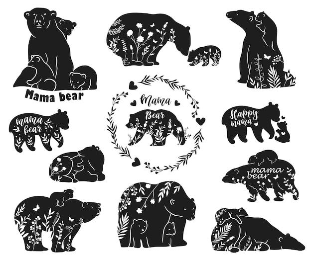 Conjunto de silhuetas de ursos polares