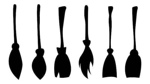 Conjunto de silhuetas de vassouras de bruxa. coleção de itens para o feriado de halloween. ilustração vetorial.