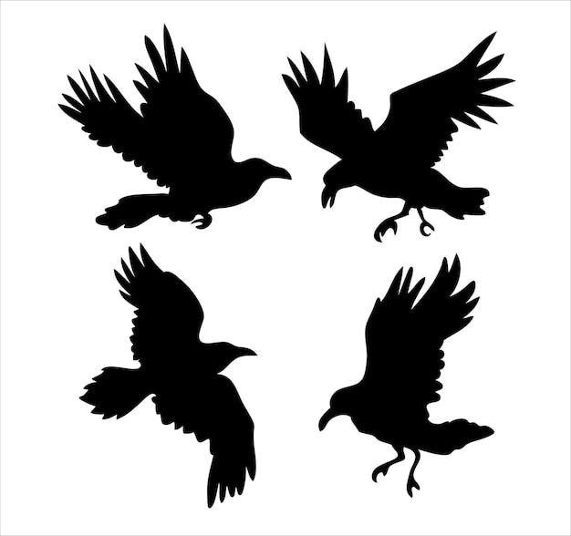 Conjunto de silhuetas de vetor de corvo realistas para ícones desenhados à mão.
