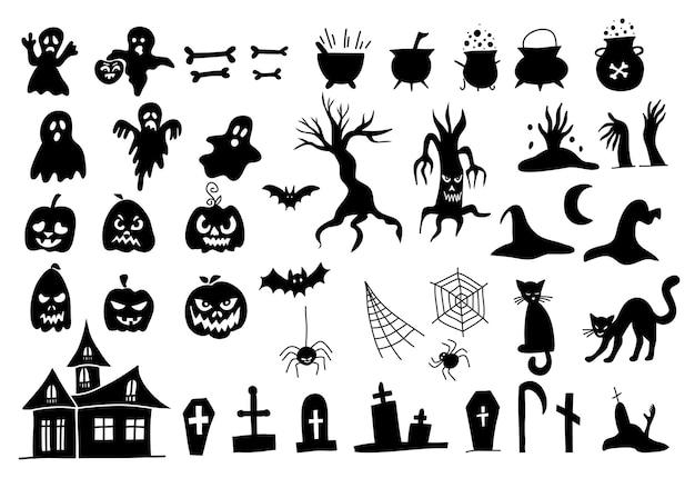Conjunto de silhuetas de vetor de estilo halloween doodle em um fundo branco. elementos pretos assustadores para seu projeto. desenhado à mão