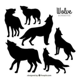Conjunto de silhuetas de wolve