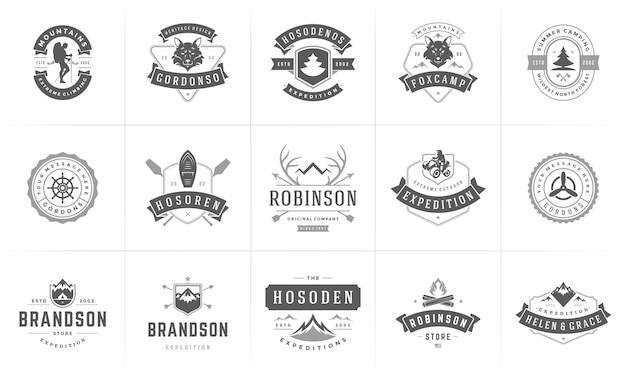 Conjunto de silhuetas e elementos de design de modelos de logotipos e emblemas de camping