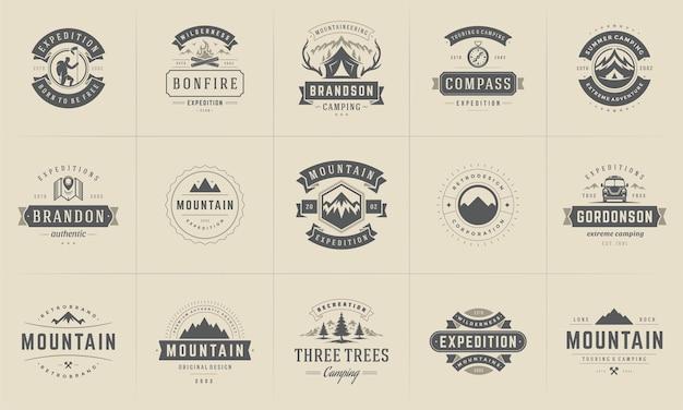 Conjunto de silhuetas e elementos de modelos de emblemas e logotipos de acampamento.