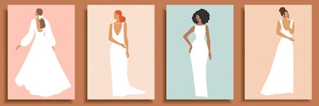 Conjunto de silhuetas e formas femininas abstratas. retratos de mulheres abstratas em vestidos de noiva em tons pastel.