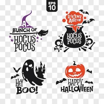 Conjunto de silhuetas, ícones de halloween com citação para decoração de festa e corte adesivo