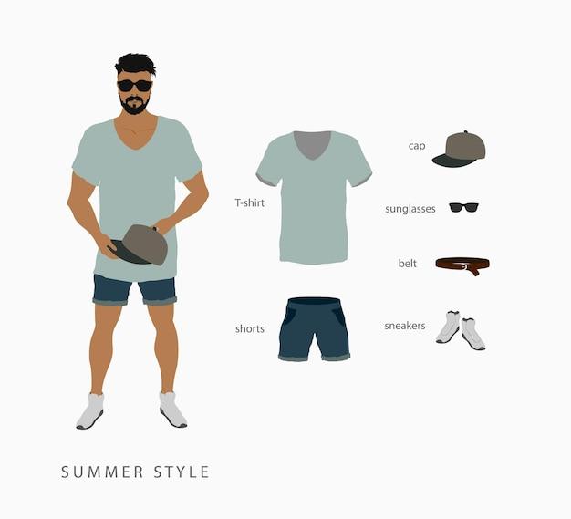 Conjunto de silhuetas isoladas de roupas masculinas e femininas.