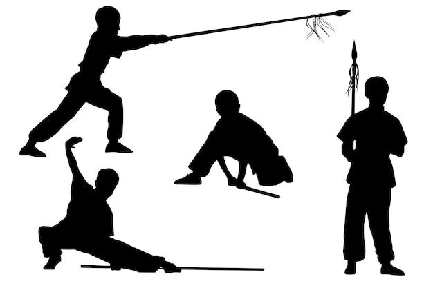 Conjunto de silhuetas: menino mostra wushu tao com uma vara e uma lança