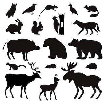 Conjunto de silhuetas negras de animais e pássaros tropicais.