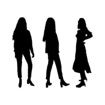Conjunto de silhuetas negras de estudantes de meninas para impressão em camisetas, canecas, bolsas, decoração e design. ilustração vetorial.