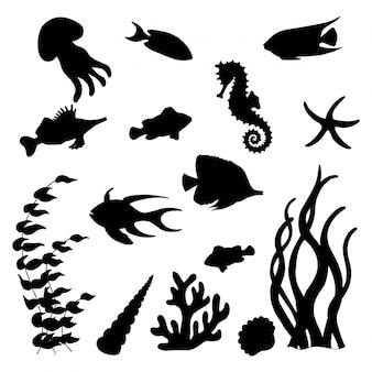 Conjunto de silhuetas negras de peixes marinhos
