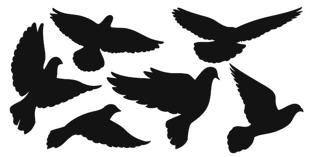 Conjunto de silhuetas negras de pombas em voo