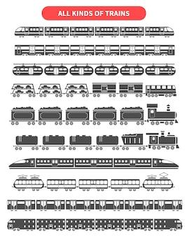 Conjunto de silhuetas negras de trem