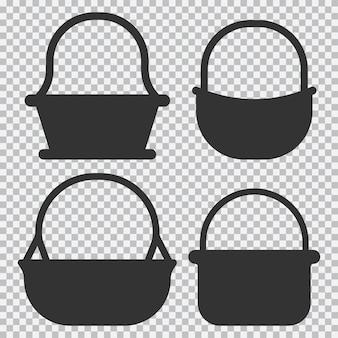 Conjunto de silhuetas negras de vetor de cesta de palha isoladas em fundo transparente.