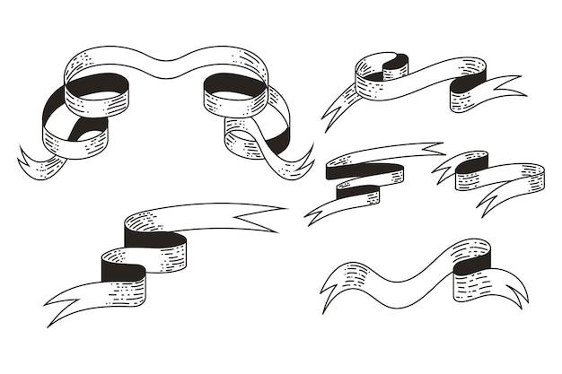 Conjunto de silhuetas pretas de banner de fita vintage isoladas em um fundo branco