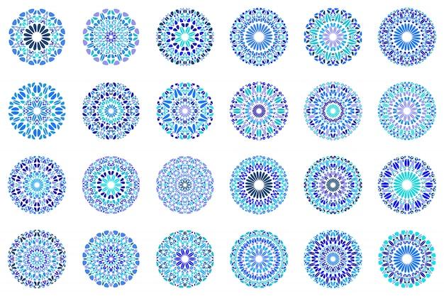 Conjunto de símbolo abstrato geométrico redondo cascalho mandala