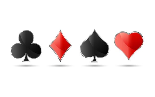 Conjunto de símbolo de baralho de naipe com estilo de luxo prateado