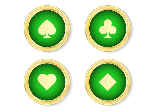 Conjunto de símbolo de baralho no emblema de ouro.