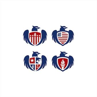 Conjunto de símbolo de coleção militar com modelo de design de logotipo de águia