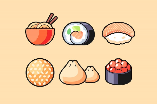 Conjunto de símbolo de comida asiática