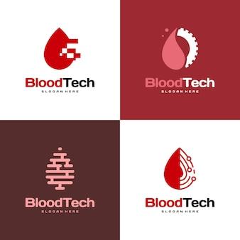 Conjunto de símbolo de logotipo pixel blood, modelo de design de logotipo blood healthcare, conceito de design de logotipo blood technology
