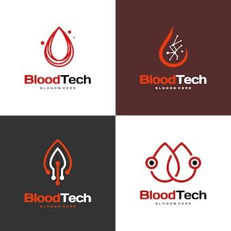 Conjunto de símbolo de logotipo pixel blood, modelo de design de logotipo blood healthcare, vetor de conceito de design de logotipo blood technology