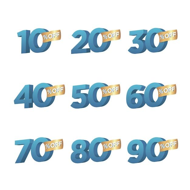 Conjunto de símbolo de porcentagem 3d de desconto