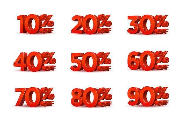 Conjunto de símbolo de porcentagem de desconto