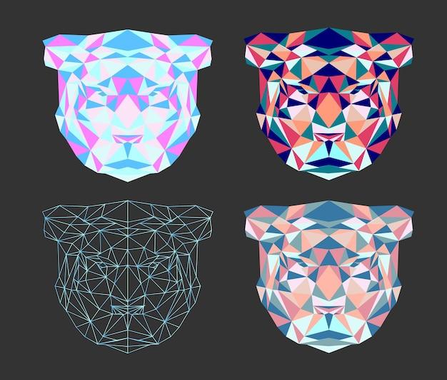 Conjunto de símbolo do tigre poligonal do ano novo