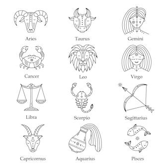 Conjunto de símbolos astrológicos, ilustração dos signos do zodíaco