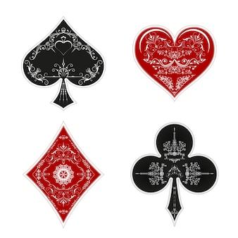 Conjunto de símbolos baralho de cartas