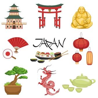 Conjunto de símbolos da cultura japonesa