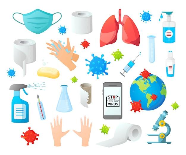 Conjunto de símbolos de alerta de pandemia mundial de coronavírus covid19