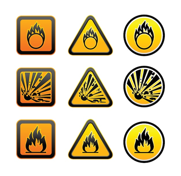 Conjunto de símbolos de aviso de perigo