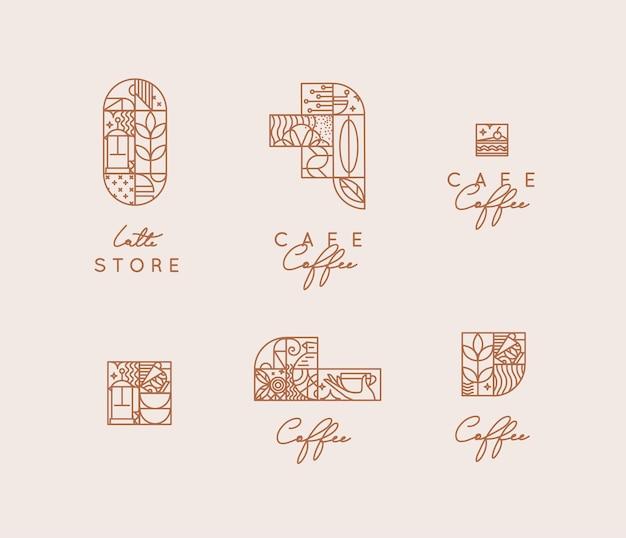 Conjunto de símbolos de café criativos modernos art déco em estilo de linha plana, desenho em fundo bege.