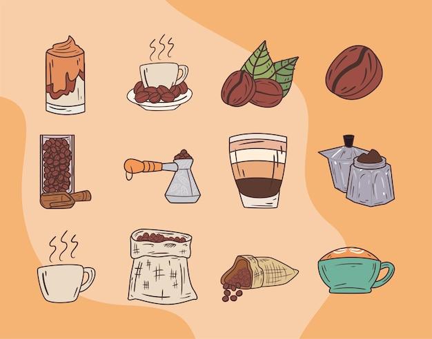 Conjunto de símbolos de café e feijão