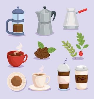 Conjunto de símbolos de café