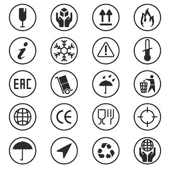Conjunto de símbolos de caixa de pacote