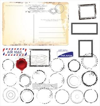 Conjunto de símbolos de carimbo de postagem