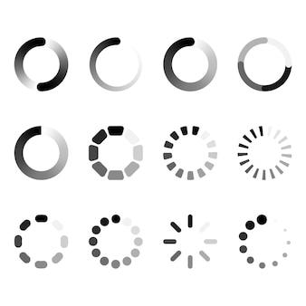 Conjunto de símbolos de carregamento redondo.