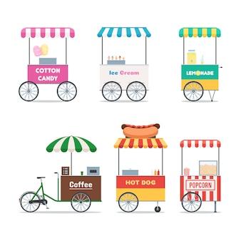 Conjunto de símbolos de carrinho de fast-food