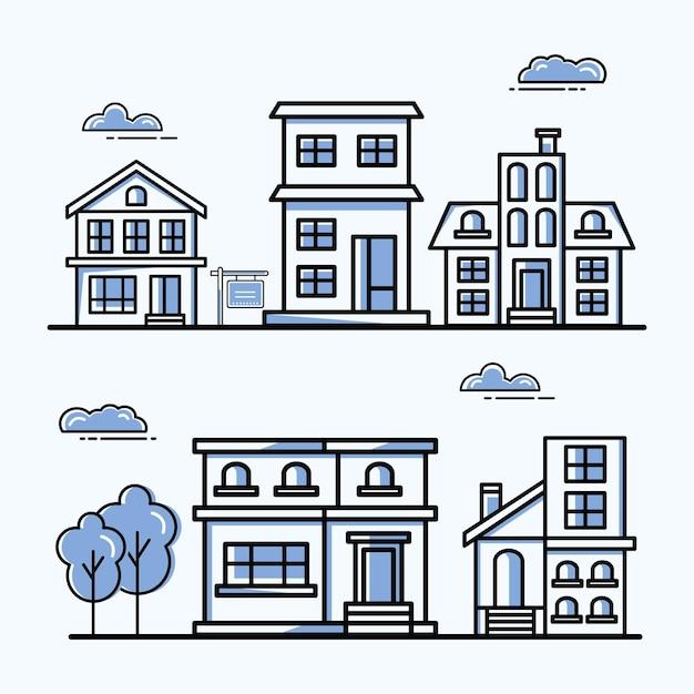 Conjunto de símbolos de casas na cidade